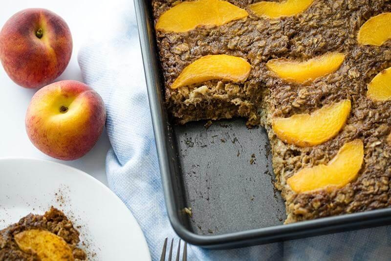 Vegan Peaches and Cream Baked Oatmeal
