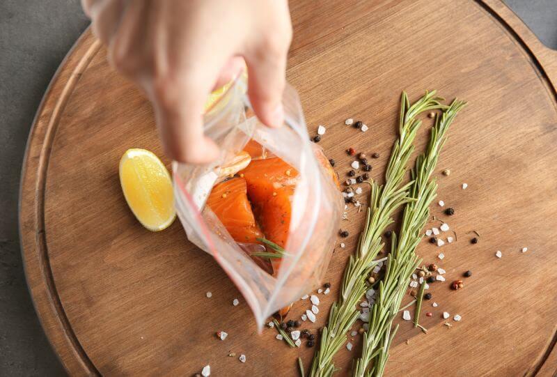 fish fillet in a ziplock bag