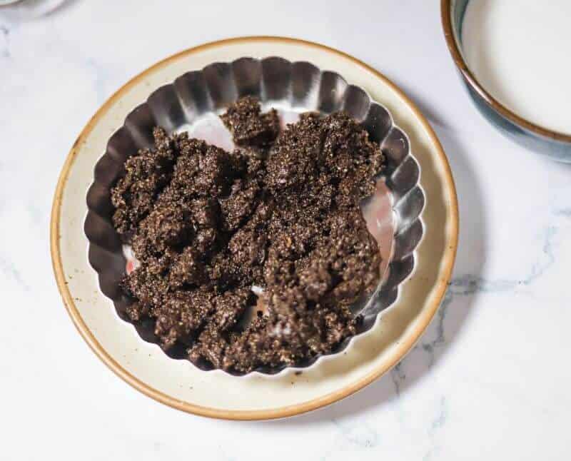 tart base ingredients on pan
