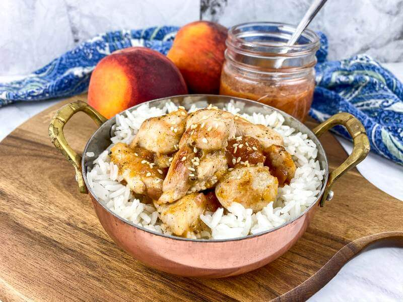 Chicken Rice with peach in serving bowl