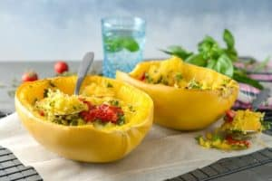 spaghetti squash on halved squash