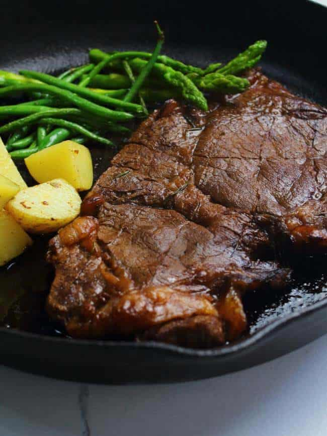 Juicy London broil in cast iron skillet