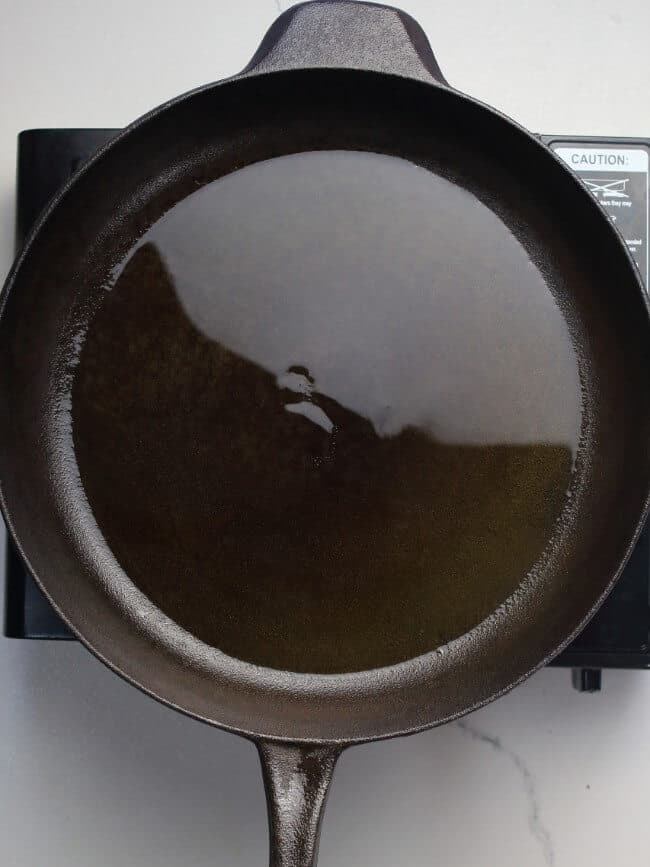 Olive oil in cast-iron pan