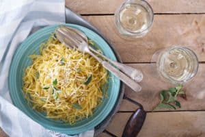 spaghetti squash with wine glass