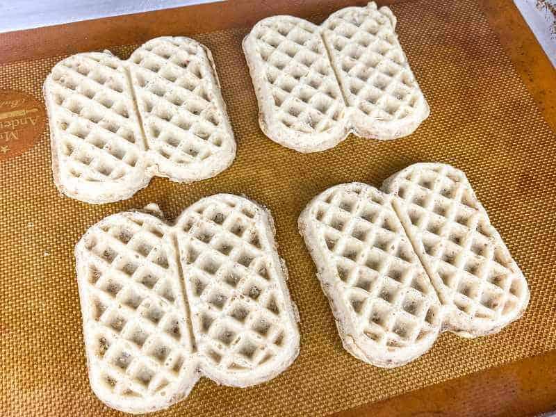 crispy waffles on a baking sheet