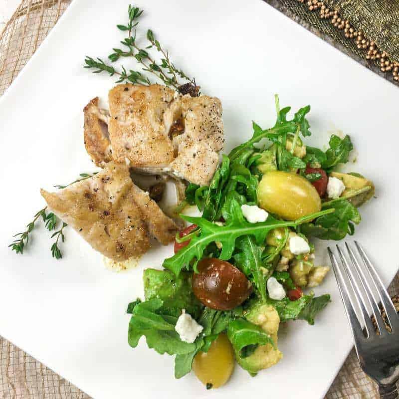 Grouper Fillet on plate with salad