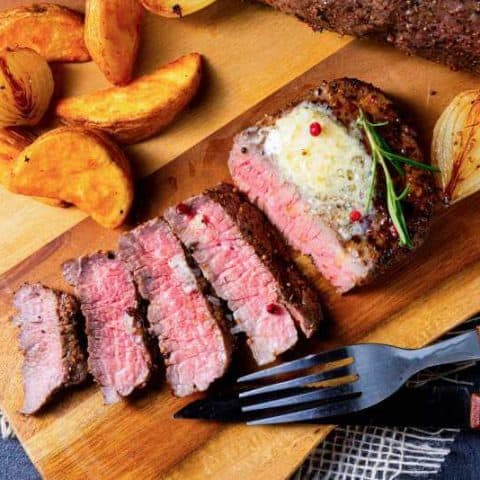 london broil with herb and butter