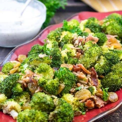 Roasted Broccoli Raisin Salad with Bacon Bits