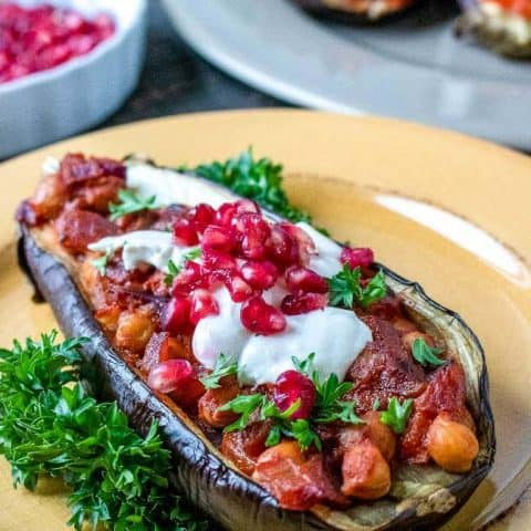 Spiced Chickpea-Stuffed Eggplant with Tahini