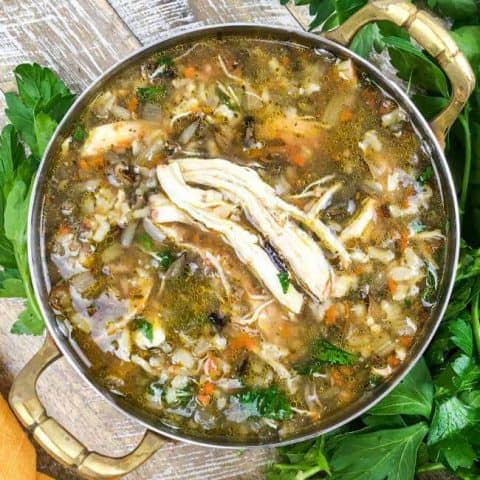 Instant Pot Chicken & Wild Rice Soup with Mushrooms