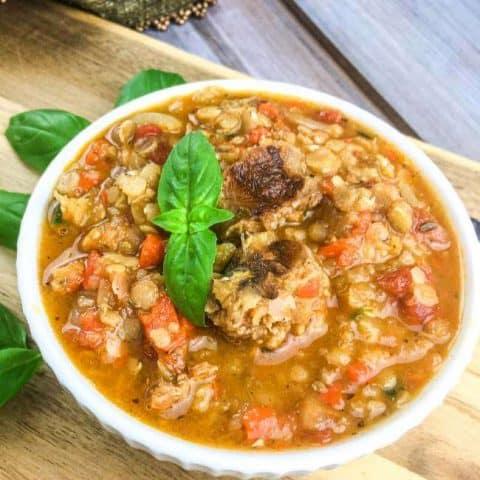 Spicy Chorizo & Red Lentil Tomato Soup