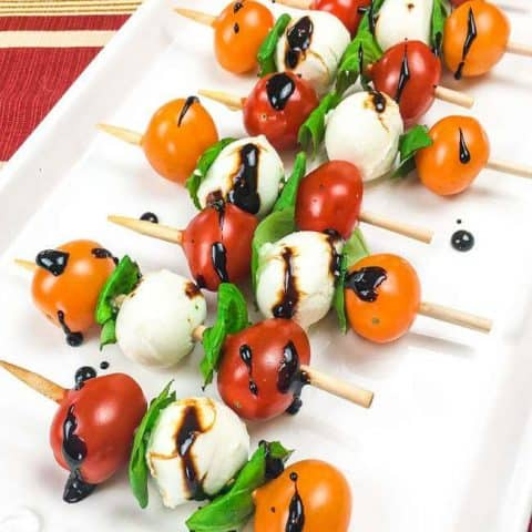 Classic Caprese Skewers with Balsamic Reduction