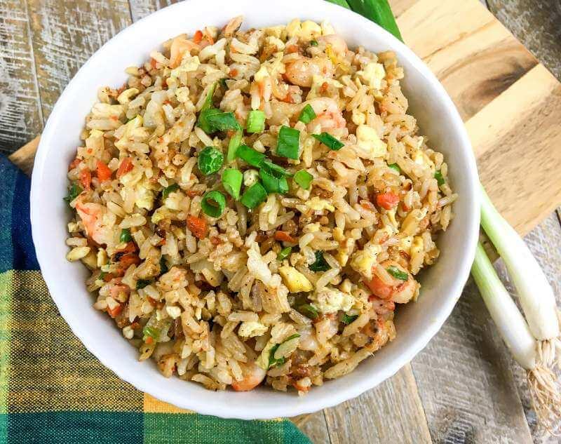 Shrimp fried rice on white bowl