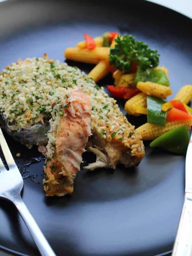 forked baked salmon