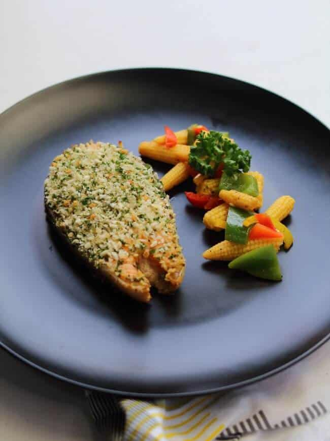 herb crusted salmon with vegetables
