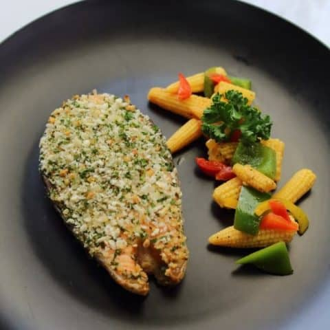 herb crusted baked salmon serving