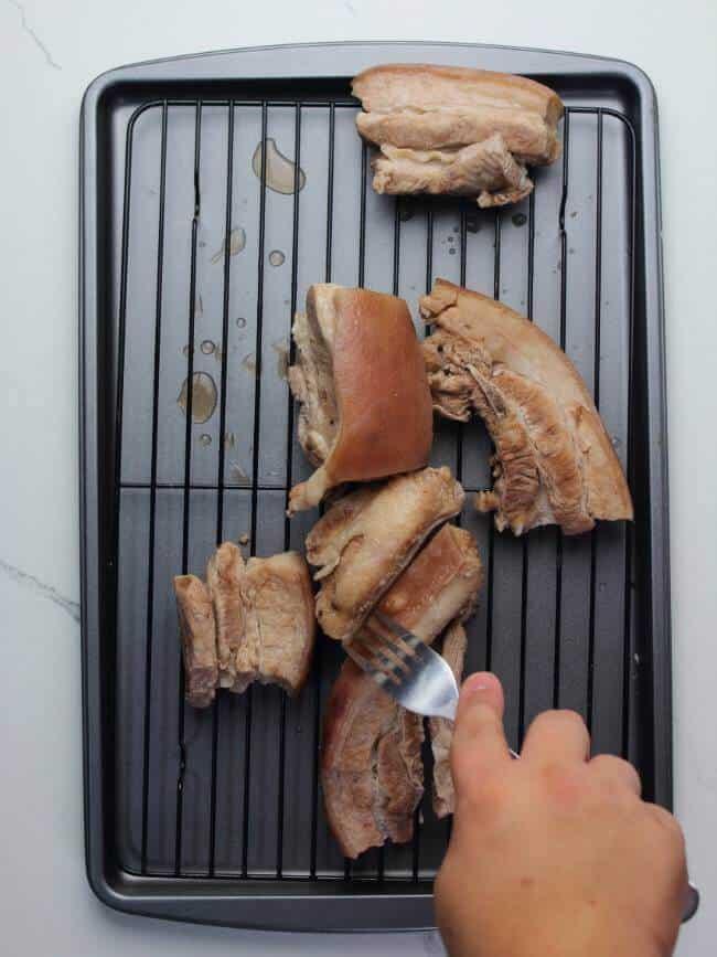 fork on pork skin