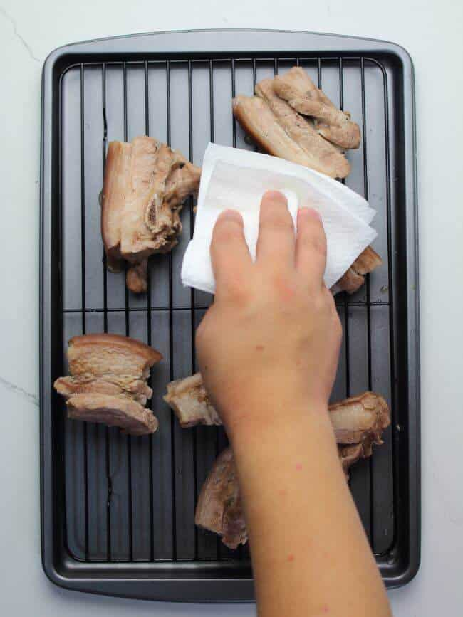pat dry pork belly with paper towel