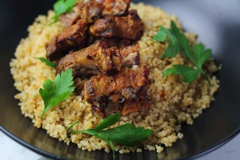 crispy pork belly on rice bowl
