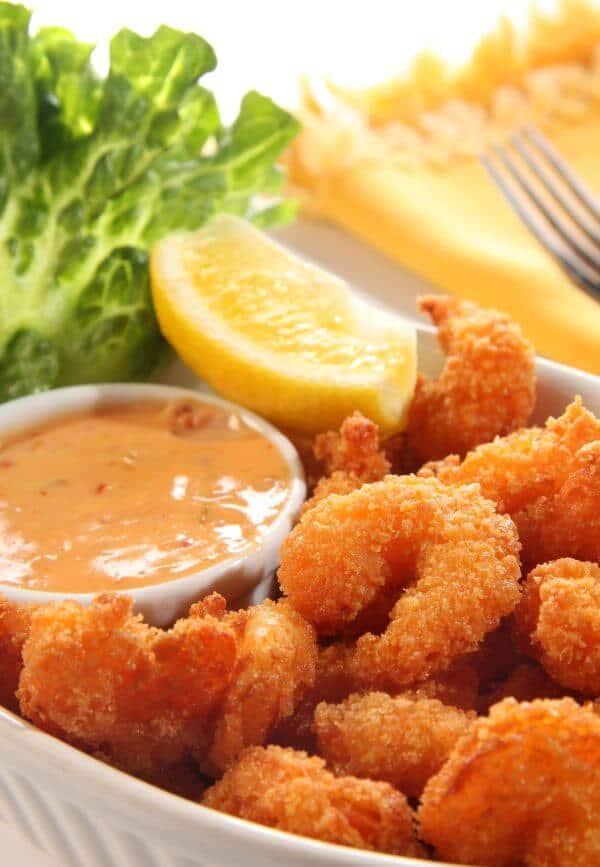 Air Fried Shrimp with Ketchup and mayo Dip