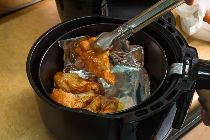 Air frying chicken cutlet