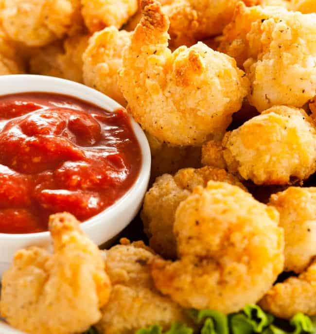 AirFried Shrimp with ketchup and lettuce