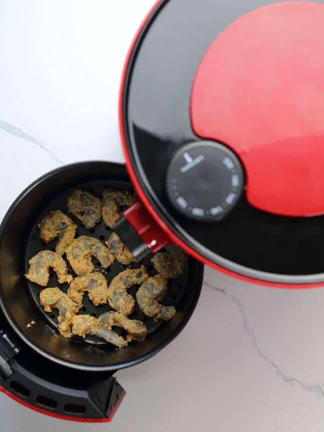 Shrimp inside Air Fryer