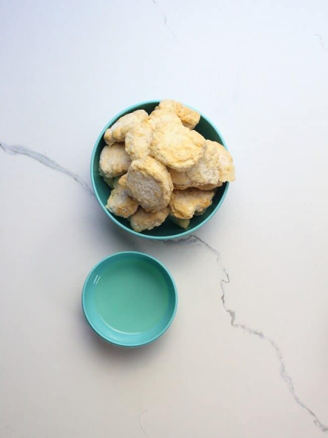 A bowl of frozen chicken nuggets