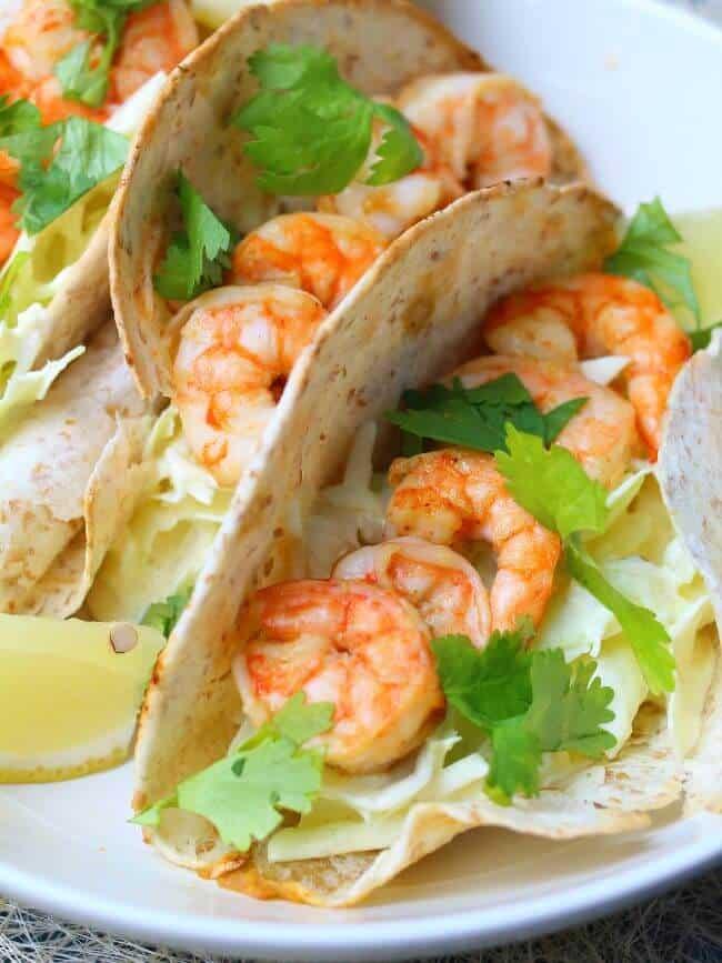 shrimp tacos close up
