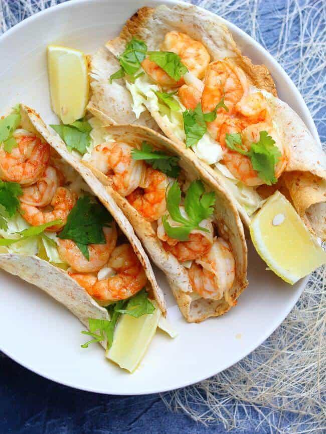 shrimp tacos on plate