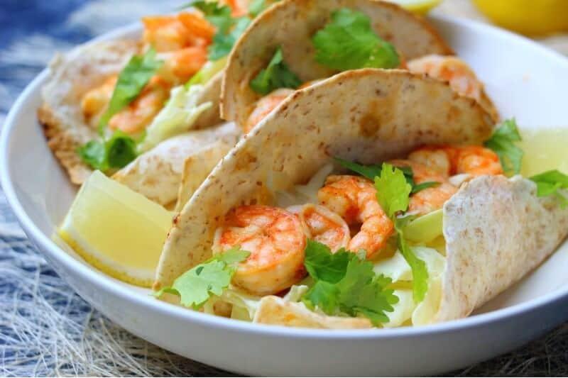 shrimp tacos plated