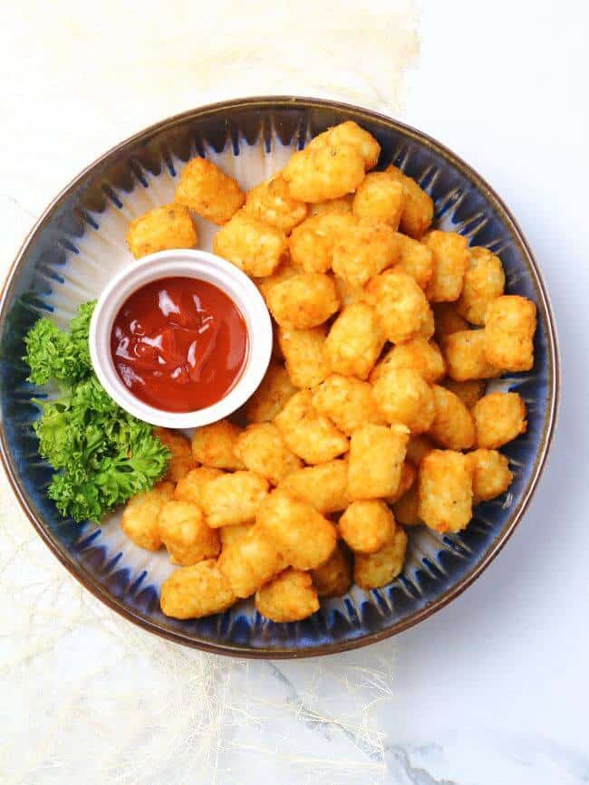 tatter tots on serving plate