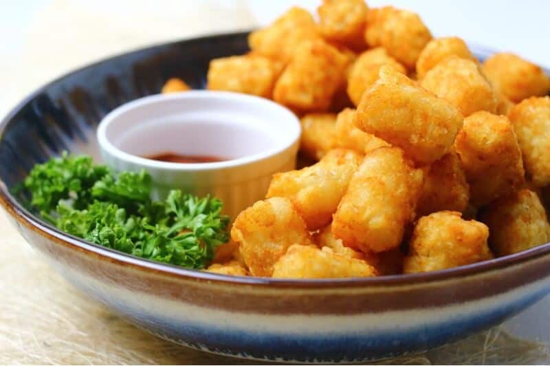 tatter tots side shot with coriander