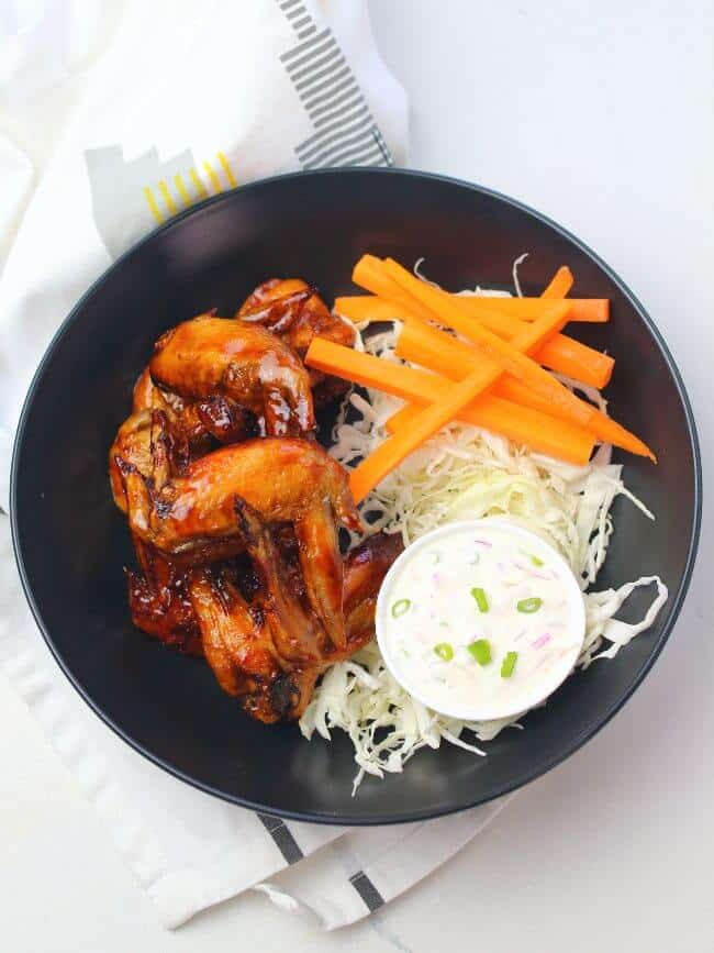 Plated air fryer chicken wings