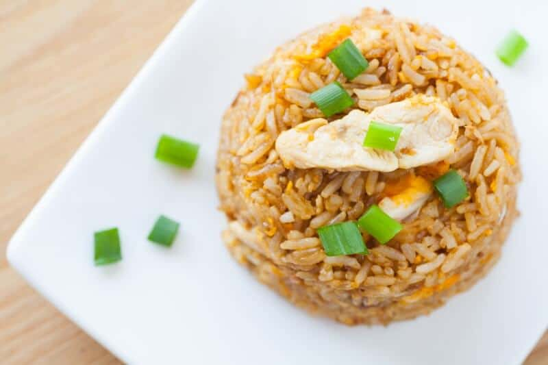 plated fried rice with chicken