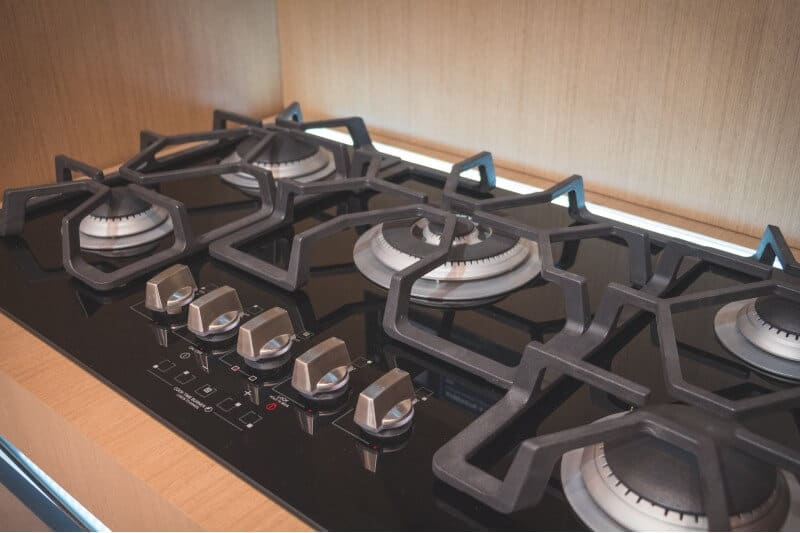 5 burner stove control panel