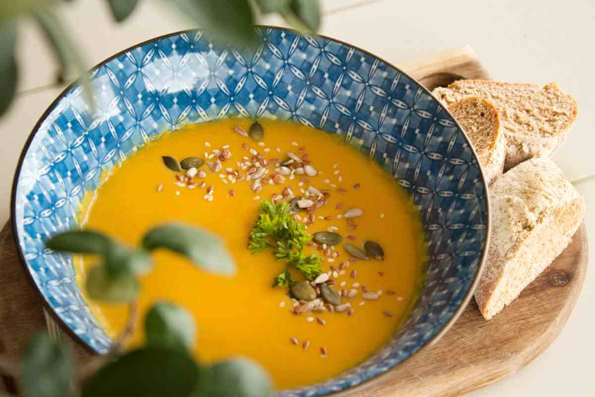 vegetable soup with gluten free bread