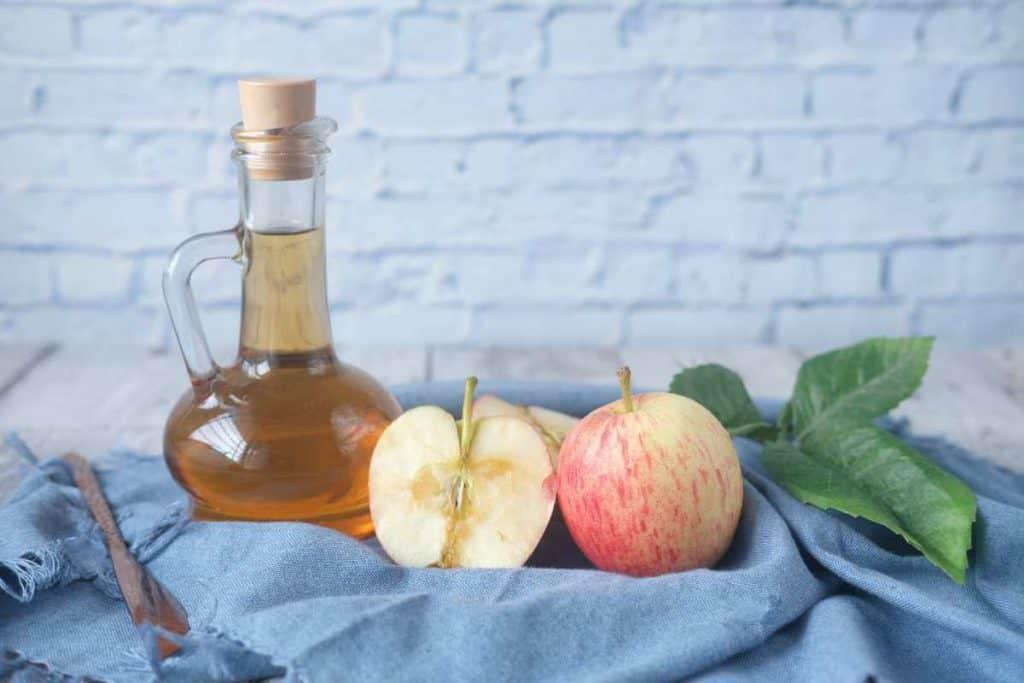 apple cider vinegar and sliced apples