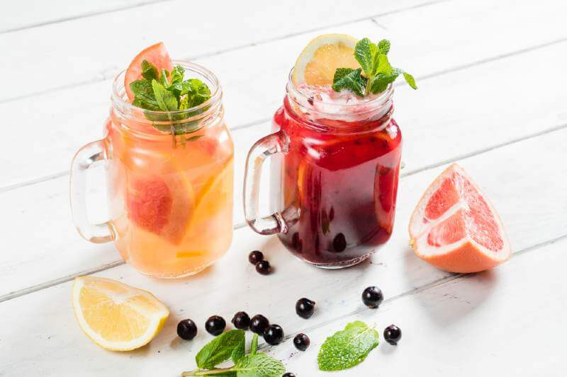 cold fruit drinks in glasses