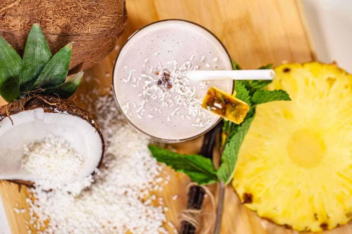 tasty pineapple coconut smoothie