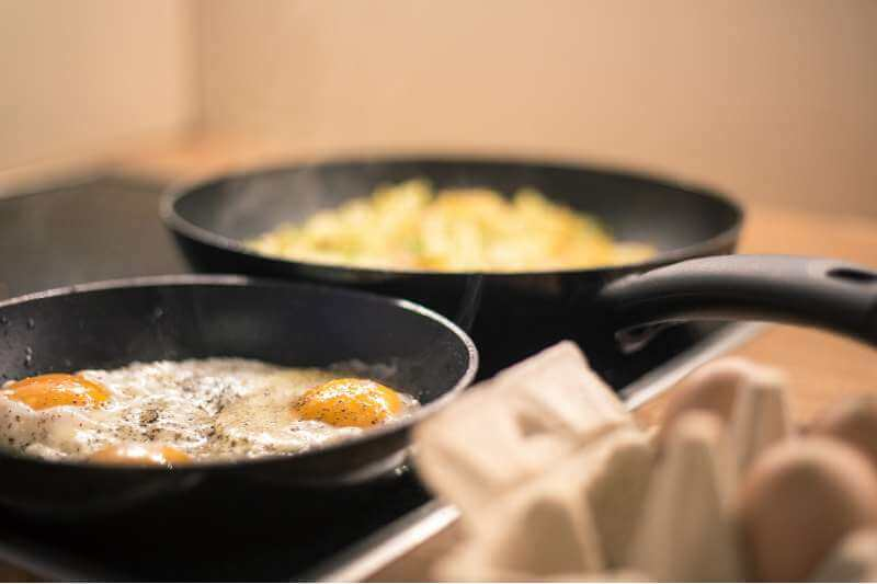 pans on the stove