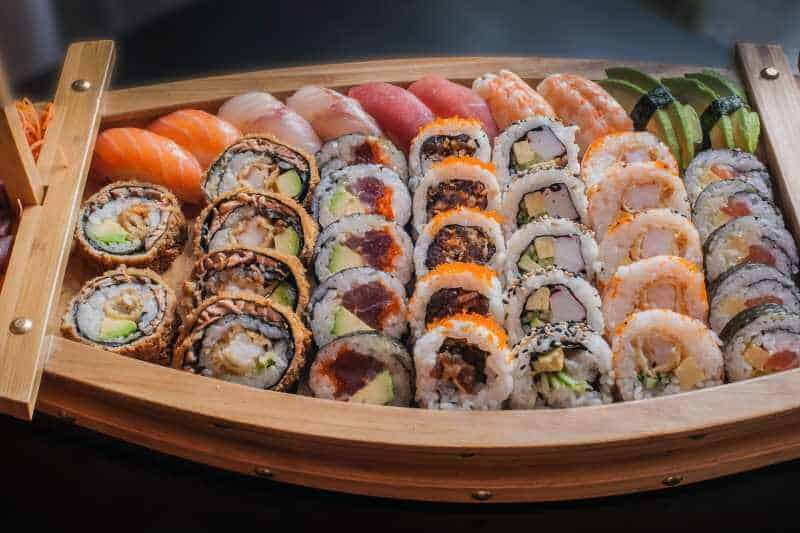 sushi variety on a big serving plate