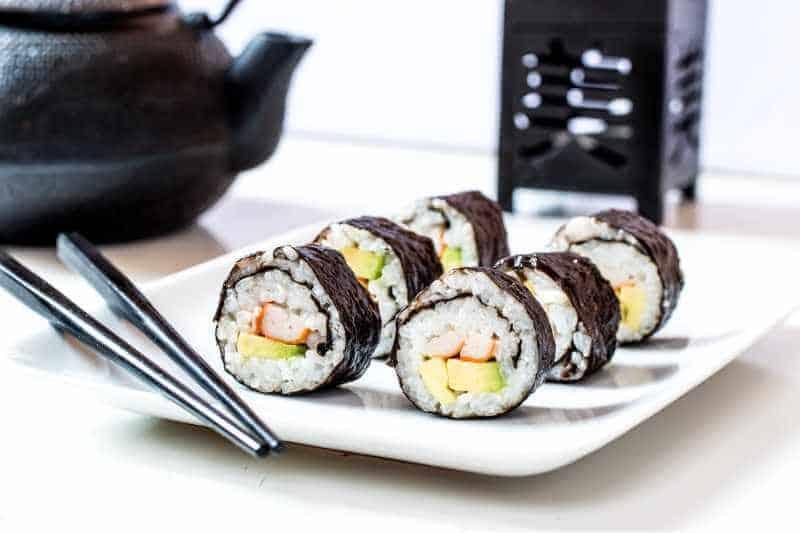 maki sushi on white serving plate